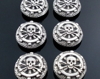 JOLLY ROGER pewter buttons - lot of 6 - Antiqued Silver or Gold