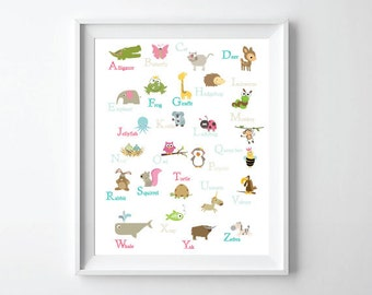 Alphabet Poster - ABC poster animals nursery wall art for kids - Alphabet wall art - Alphabet animals- Alphabet Nursery decor
