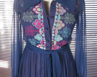 1960s Dark Blue Chiffon Gown with Embroidered Bodice.....size  8