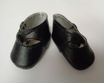 Teeny Tiny Black Mary Jane button Strap Doll Shoes  Vintage Doll Shoes-Size 8