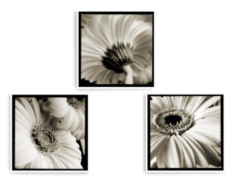 Set 3 Square Prints, Floral Wall Art, Black and White Flower Prints, Set of 3 Wall Art, Large Wall Art, Bedroom Wall Art, Triptych Wall Art