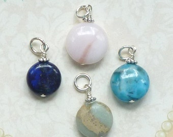 Add a Dangle Charm Coin Gemstone with Sterling Silver - Add a Gemstone Dangle, Add on Charm, Gemstone Dangle Charm