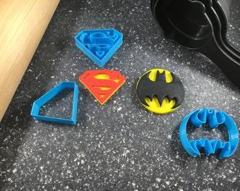 Batman and Superman Symbols Layered Fondant Cookie Cutter