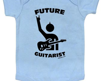 Future Guitarist Baby Bodysuit Blue