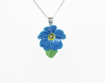 Porcelain Blue Primrose pendant with sterling silver necklace/ Flower Necklace/ Flower Pendant/ Flower jewellery/ Primrose necklace