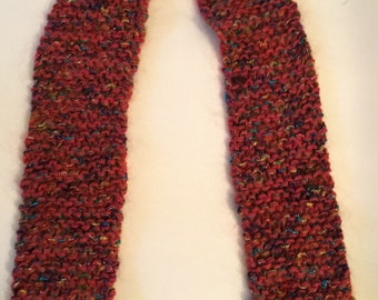 Scarf, red with jewel tones
