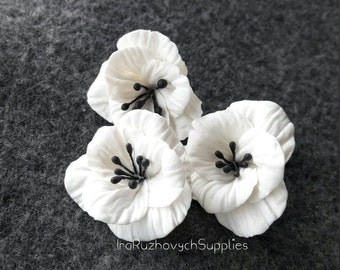 3 pcs. white flowers, polymer clay flower bead