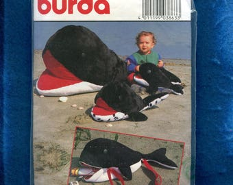 Burda 3863 Orca Whale Stuffed Animals & Tote Bag Pattern UNCUT