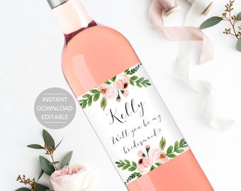 Will you be my bridesmaid wine bottle labels, bridesmaid proposal label, how to ask bridesmaids, Bridesmaid wine label instant download