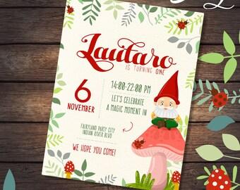 Cute garden gnome birthday party printable invitation
