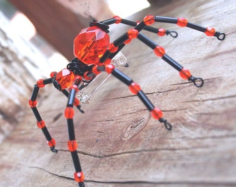 Beaded Spider - Hair Bobby Pin, Lapel Pin, Pendant or  Halloween Decoration, Gothic Orange and Black Beaded by Jenifersfamilyjewels on Etsy
