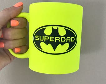 Superdad neon yellow 11oz ceramic coffee mug