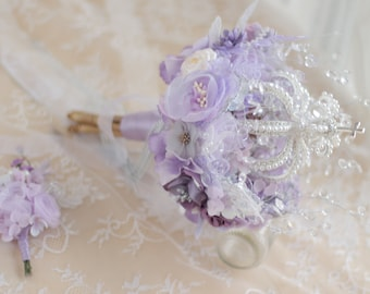Handmade Architecture Bouquet Crown Purple Fabric Bridal Bouquet