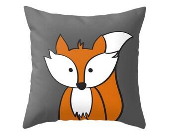 Fox Cushion Pillow Nursery Monochrome Black And White Decor