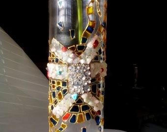 Hand-Painted Glass Vase, glass vase