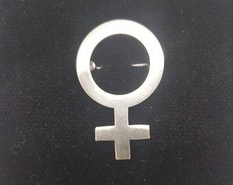 Venus Female Symbol Silver Brooch