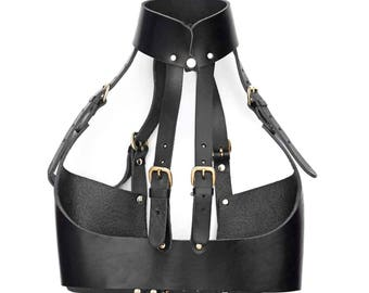 Mandarin Leather Harness Bra - Black