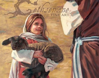 """Savior and Girl with Lamb Paper Print """"Even As I Am"""" by Rod Peterson Christian Oil Painting Portrait of the Savior Jesus Christ"""