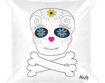 All Souls Day Square Throw Pillow Sugar Skull Day of the Dead, Skull and Bones Pillow, Dia de Los Muertos Calaveras Accent Throw Pillow
