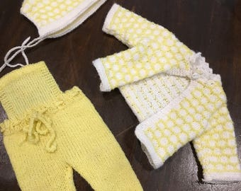 Knit vintage baby doll clothes bonnet sweater yellow