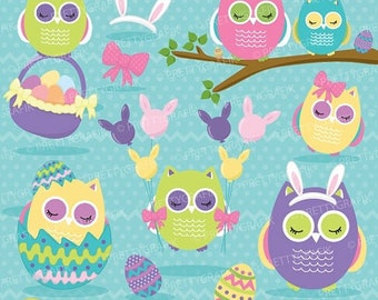 80% OFF SALE easter owls, owl bunny ears clipart commercial use, vector graphics, digital clip art, digital images - CL649
