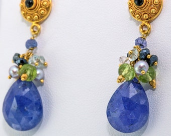 18K Solid Gold Post Earrings with Tanzanite, Accented by Topaz, Peridot, Pearls