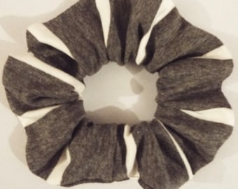 Grey and white stripe jersey hair scrunchie