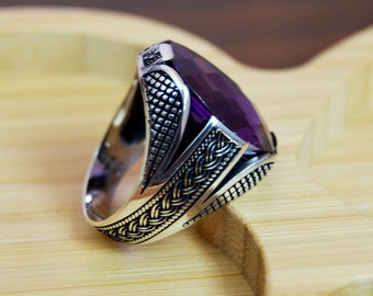 Mens Handmade Ring, Turkish Handmade Silver Men Ring, Ottoman Mens Ring, Amethyst Men Ring, Gift for Him, 925k Sterling Silver Ring