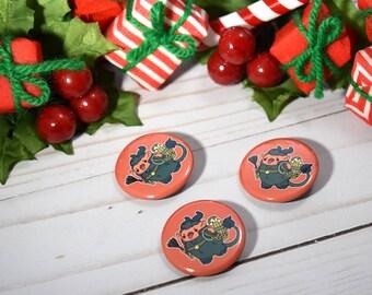 Kawaii Krampus Nugget Christmas Pinback Button or Magnet