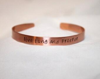 Live Long and Prosper Bracelet, Trekkie, Hand Stamped Bangle, Copper Jewelry