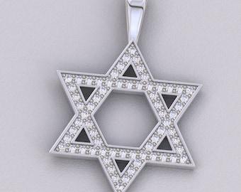 14k White Gold Jewish Star of David Diamond Pendant Necklace Charm 1 ct Carat