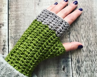 Fingerless gloves, crochet hand warmers, extra fine merino, premium hand dyed yarn, green and silver grey, knit gloves