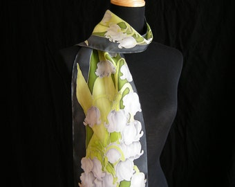 Hand Painted Lily of the Valley Silk Scarf