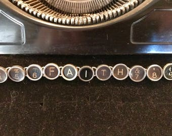 FAITH Vintage Typewriter Keys Bracelet