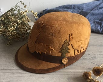 Brown Vintage Suede Hat; Winter Hat; Leather Hat; Brown Suede; Vintage Leather Hat; Rustic : Suede Cap; Vintage Cap