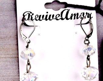 Crystal Dangle Earrings | Crystal Drop Earrings | Dangle Earrings | Long Dangle Earrings | Vintage Crystal Earrings | Aurora Borealis 17.99