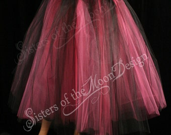 Tulle tutu skirt Floor length hot pink black petticoat formal prom goth bridal bridesmaid costume Adult - All Sizes - Sisters of the Moon