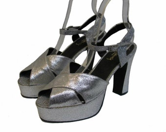 Silver Glitter Luichiny Platform Sandal Shoes Made In Spain Womens US Size 11