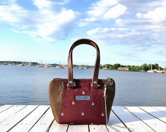 Handbag ZwillingsZwirn *Hydrilla* Anchor White/Bordeaux/Brown Size: S
