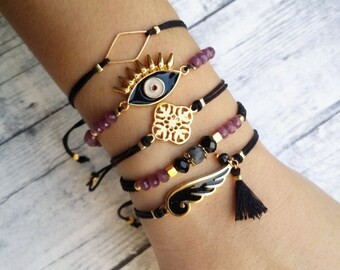 Evil eye bracelet, friendship bracelet, macrame bracelet, beaded bracelet, enamel bracelet, charm bracelet, bohemian beacelet, boho, fashion