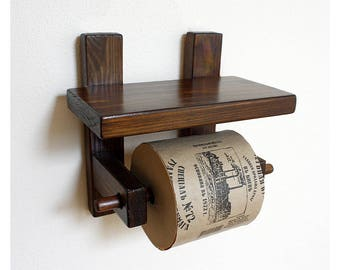 Toilet paper storage Toilet shelf Toilet roll holder Toilet paper holder Holder with Shelf  Toilet storage