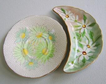 Vintage Daisy Trinket Dish Lot Mid Century Handpainted