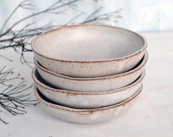 SAMPLE SALE - Set of 4 Rustic Bowls - Ceramic Bowls - Serving Bowls - White Bowls - Stoneware Bowls - Pottery Bowls