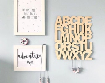 Wood alphabet board