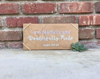 Bible verse wall art-Psalm 139 14-I am fearfully and wonderfully made-Christian wall art-Bible verse sign-Christian gifts-Religious wall art