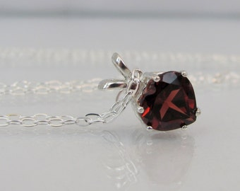 Garnet Heart Necklace in Sterling Silver, January Birthstone Jewelry, Garnet Pendant, Mothers Day Gift, 8mm Garnet Gemstone, Red Necklace