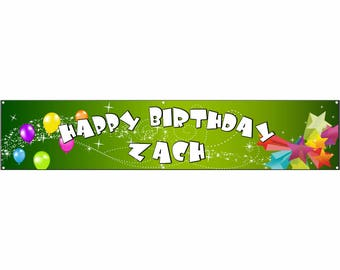 Birthday Green Vinyl Banner Single Sided with Grommets