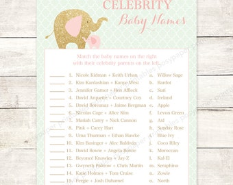 celebrity baby names matching game card printable elephant pink mint green gold glitter baby girl baby shower digital games INSTANT DOWNLOAD