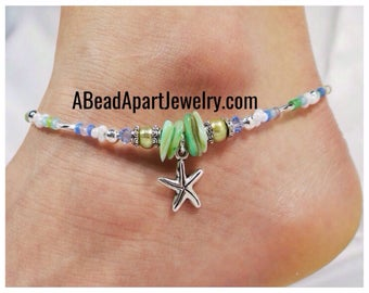 Anklet, Ankle Bracelet, Starfish Anklet, Starfish Jewelry, Beach Anklet, Beach Jewelry, Vacation Jewelry, Foot Jewelry, Cruise Jewlery