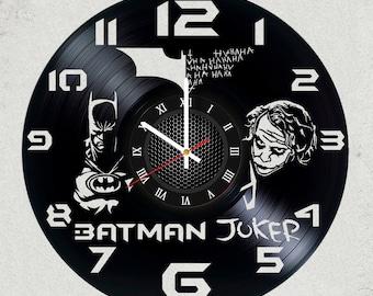 BATMAN vs JOKER 12 inch / 30 cm ViNYL WaLL ClOCK MOVIE Dc Comics wall clock gifts Dark Knight gift for kids Gotham Batman gifts for boys